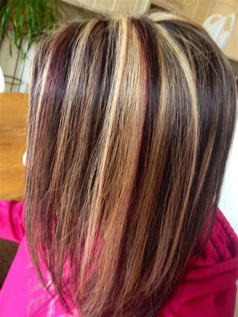 hairstyles with mahogany highlights mahogany brown and blonde chunky highlight lowlight