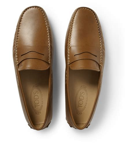 tod s gommino leather driving shoes in brown for lyst