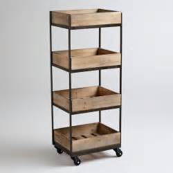 4 shelf wooden gavin rolling cart contemporary kitchen
