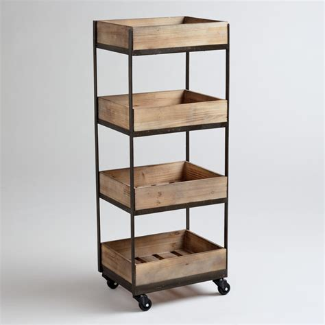 kitchen trolleys and islands 4 shelf wooden gavin rolling cart contemporary kitchen