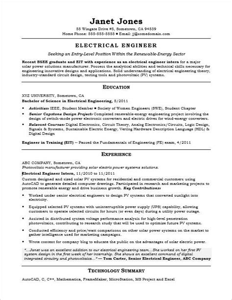 electrical project engineer resume format entry level electrical engineer sle resume