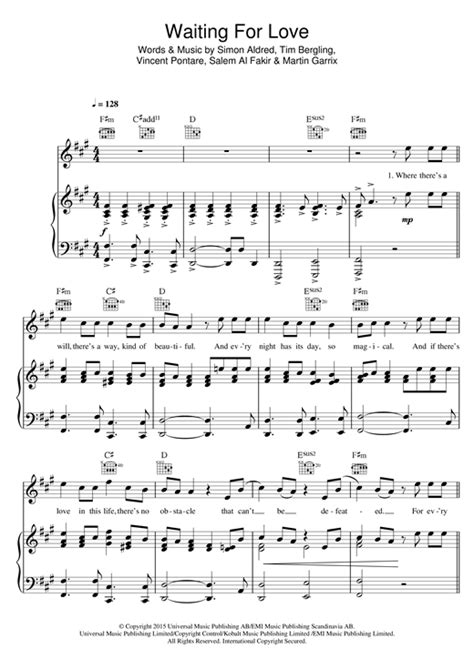 Waiting For Love piano sheet music by Avicii - Piano Voice