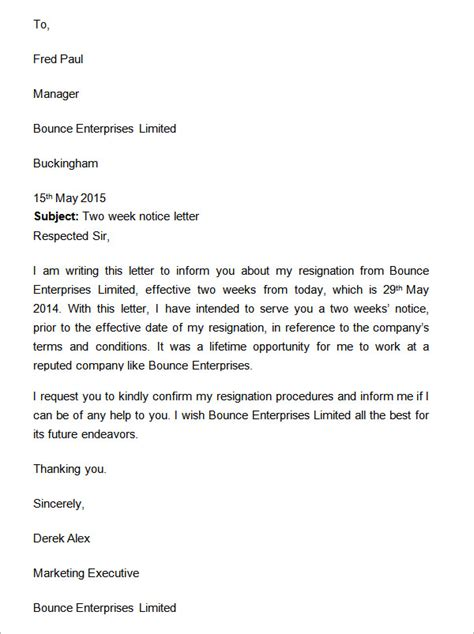 two weeks notice letter 12 download free documents in word