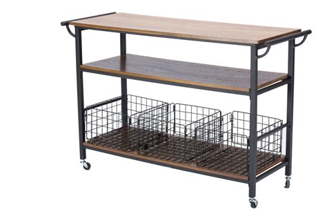 baxton studiolancashire brown wood metal kitchen cart