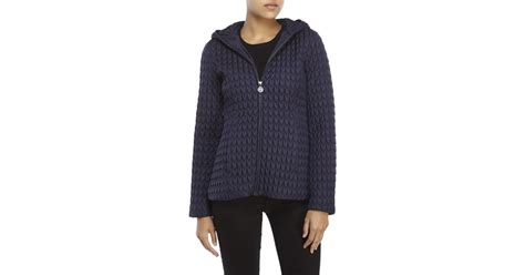 Hits Popcorn Sweater Navy klein navy popcorn quilted hooded jacket in blue navy lyst