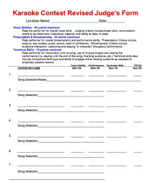 contest form template karaoke contest score sheet fill printable