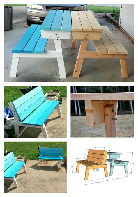 bench conversion ana white picnic table that converts to benches diy