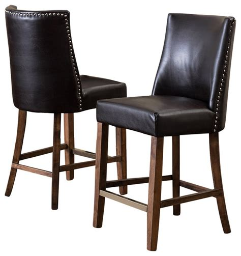 leather nailhead bar stools rydel nailhead accent brown leather stools set of 2