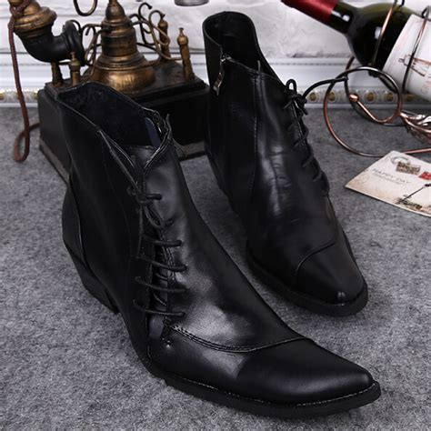 mens high heel motorcycle boots top quality black men boots chunky high heels ankle boots