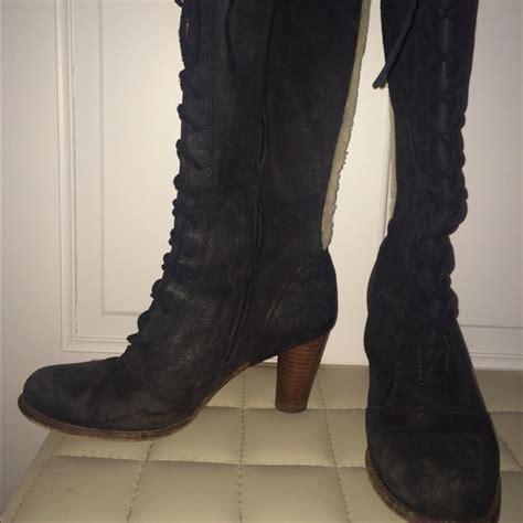 74 ugg boots ugg laceup high heel black boots