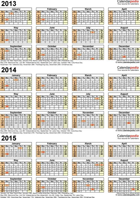 printable monthly calendars for 2014 and 2015 2013 yearly calendar printable with holidays autos post