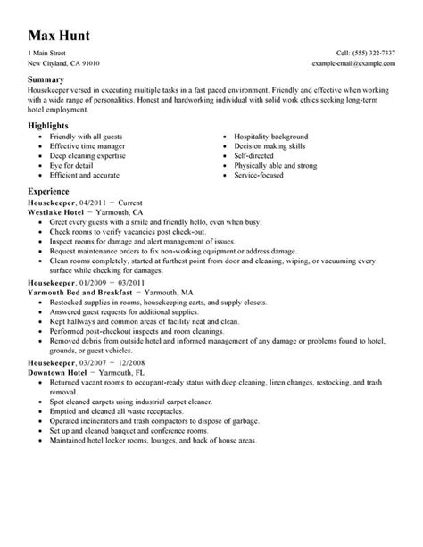 housekeeping resume exles housekeeper resume exles created by pros
