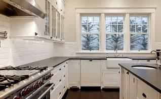 exceptional Black White Kitchen Ideas #1: black-granite-white-subway-backsplash.jpg