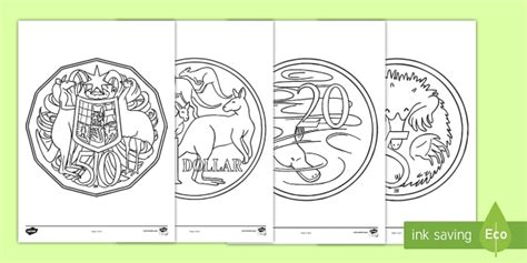 color money australian coins colouring pages australian currency money
