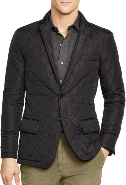 Mens Quilted Sport Coat by Ralph Polo Quilted Sport Coat In Black For