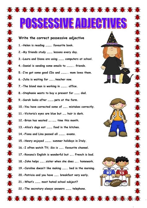 Possessive Adjectives Worksheet by Possessive Adjectives Exercises Primary School