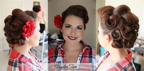 1920 S Pin Up Hairstyles by Los Angeles Pinup Victory Rolls Hair Style Rockabilly