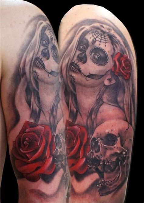 mexican skulls and roses sleeve mexican traditional colored portrait with