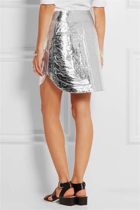 mcq mcqueen metallic crinkled leather mini skirt