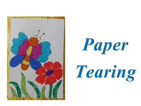 Paper Tearing Craft - diy how to do paper tearing