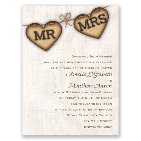 wedding invitations with hearts rustic hearts invitation invitations by