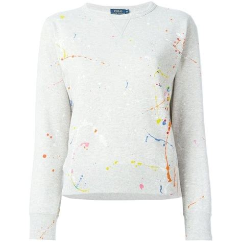 White Color Paint Sweater polo ralph paint splatter sweater 151 liked on polyvore featuring tops sweaters polo