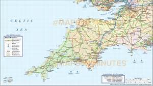 west county map south west county road and rail map at 1m scale in