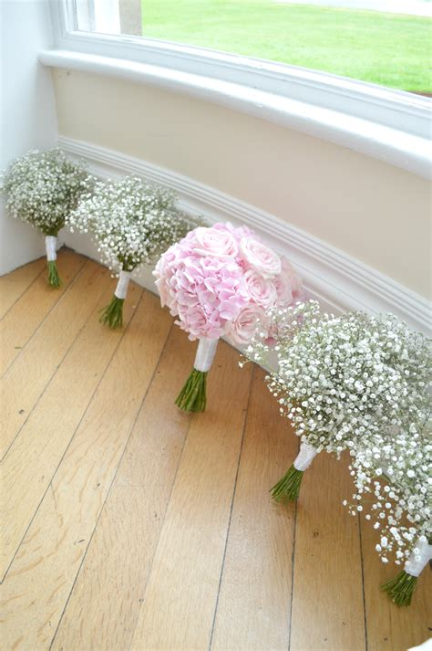 Wedding Bouquet Gypsophila by Pink Hydrangeas And Bridal Bouquet And Gypsophila