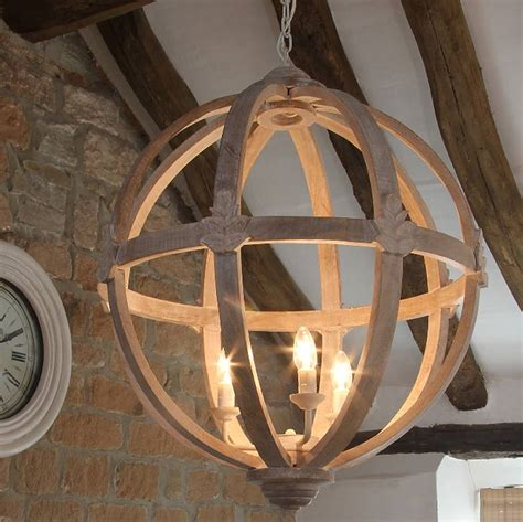 Rustic Kitchen Island Table by Large Round Wooden Orb Chandelier By Cowshed Interiors