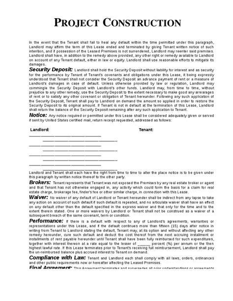 Contract Letter For Construction printable sle construction contract template form