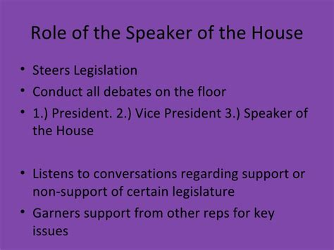 what are the duties of the speaker of the house chapter 6 the legislative branch