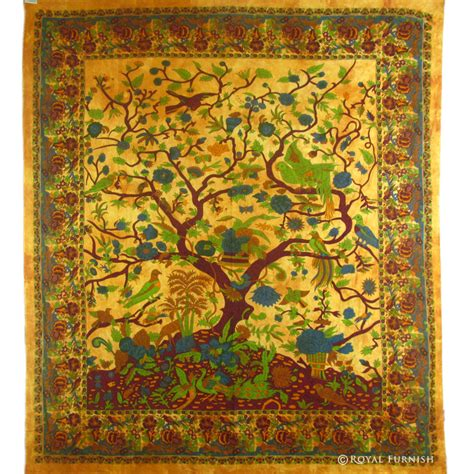 bed tapestry brown indian bohemian tree of life tapestry bed cover