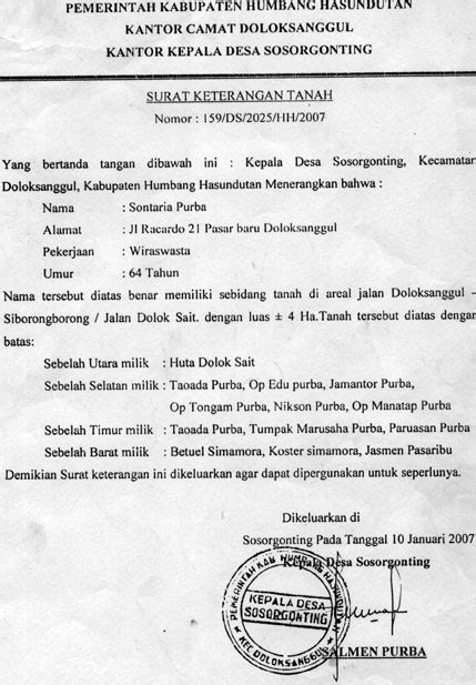 contoh format surat keterangan riwayat tanah surat keterangan tanah kades sosorgonting salmen purba