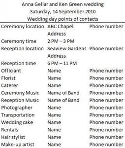 wedding day vendor contact list when it s my time