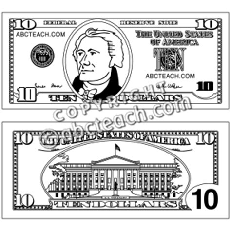 coloring page dollar bill best photos of dollar bill outline 5 dollar bill