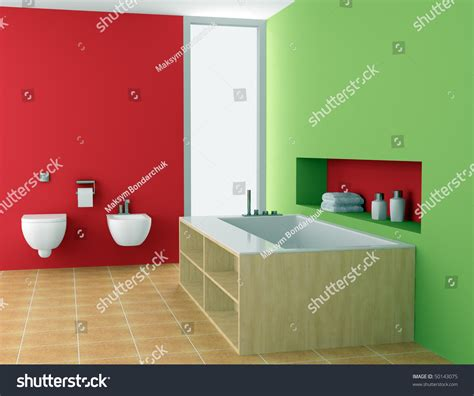 red and green bathroom modern bathroom with red and green walls stock photo