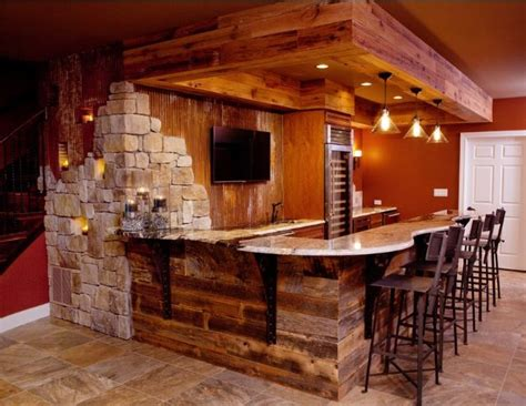 rustic finished basement bar cave