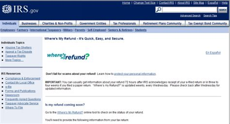www irs govov where s my refund irs updates status for tax payers filing and waiting for a tax refund