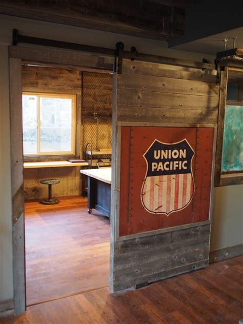 reclaimed barn door industrial basement other metro