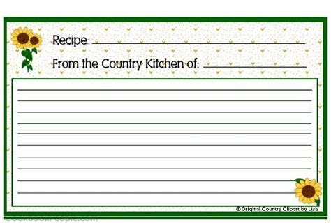 sunflower recipe card template 17 best images about printable recipe cards on