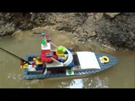lego fishing boat sinking slow motion huge air bubble sinks two lego boats m4v