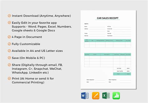 Mac Pages Sales Receipt Template by Car Sale Receipt Template In Word Excel Apple Pages Numbers