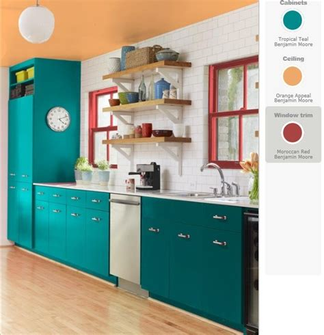 Teal Kitchen Ideas | teal and red yellow orange kitchen teal cabinets red