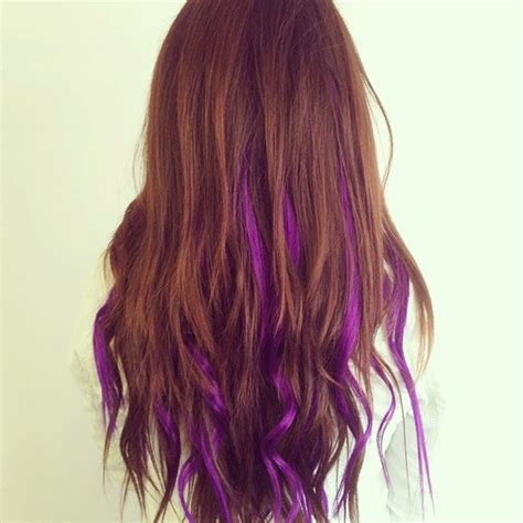 brunette hairstyles with purple highlights hair on pinterest purple highlights colored hair and