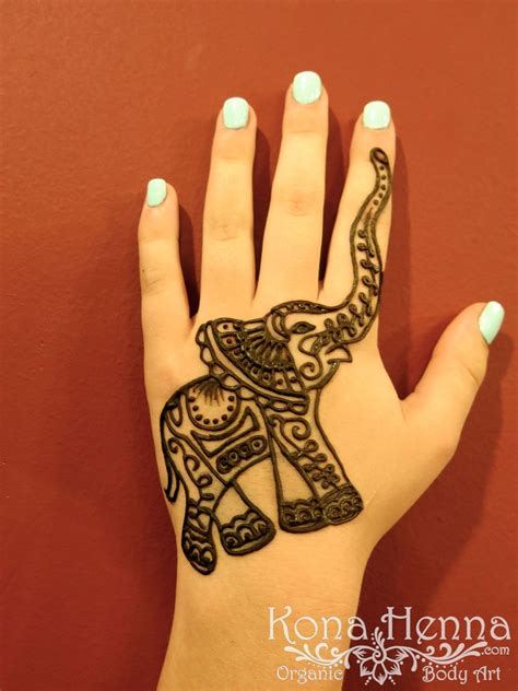 elephant tattoo on hand kona henna studio elephant henna by kona henna