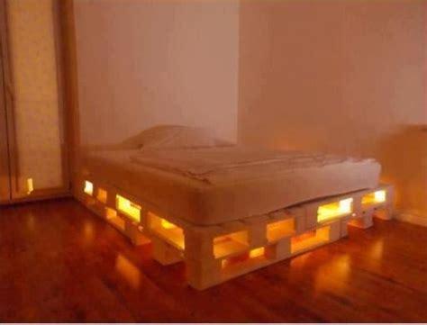 light up bed frame diy glowing led pallet bed diply