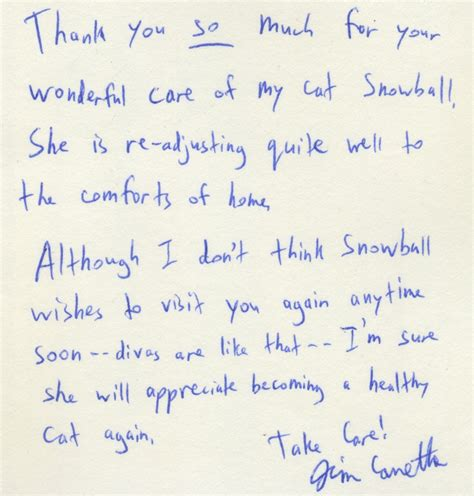 Thank You Letter Veterinarian quot thank you so much for your wonderful care quot advanced