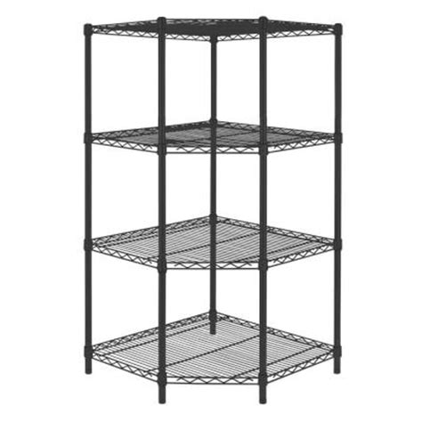 hdx wire shelving hdx 4 shelf steel corner shelving unit in black sl csus 114p the home depot