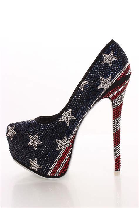 The Hotness Jeweled Heels by White And Blue Flag Heels Flag Rhinestone Platform