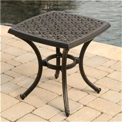 Agio Patio Table Agio Amalfi Alumicast Outdoor Square Top End Table With Ornate Details Ahfa Outdoor
